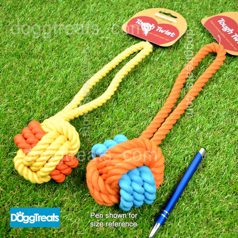 Rope & Rubber Ball Dog Tug Toy with Handle - Rosewood Tough Twist
