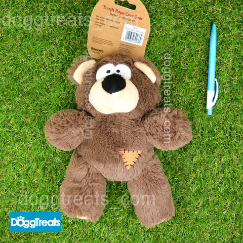 Large Plush Bear Dog Toy - Tough Rope Core