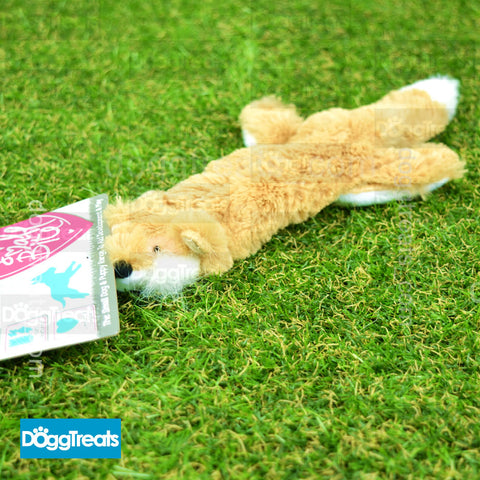 Ancol Small Bite Floppet Fox With Squeaker - Soft Plush Puppy Dog Toy Comforter Unstuffed