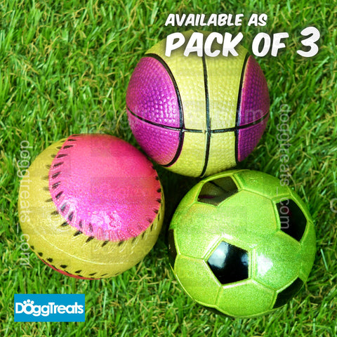Solid Squishy Rubber Dog Sports Ball Toy - Pack of 3