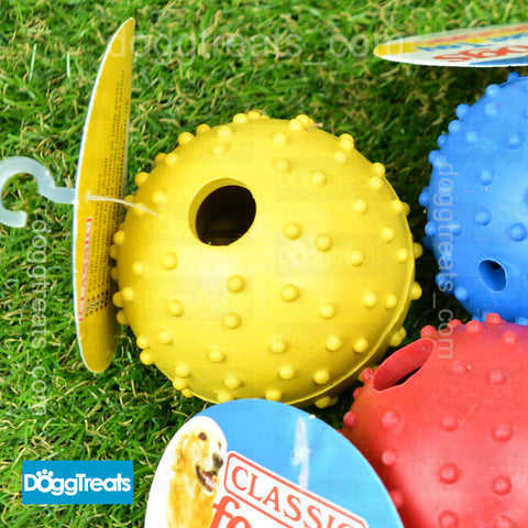 Large Rubber Ball Dog Toy - Pimple Texture - With Bell Jingle - Tough - Throw & Fetch