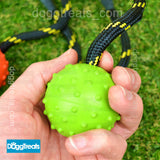 Tough Ball Dog Toy - Rubber Ball with Rope & Bell - Durable