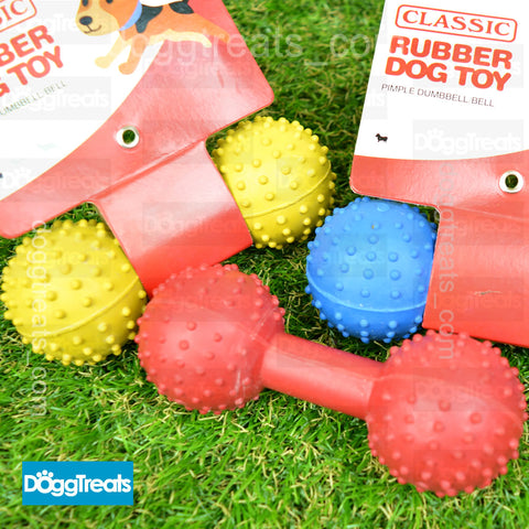 Rubber Dumbbell Dog Toy with Bell - Pimple Ball Texture