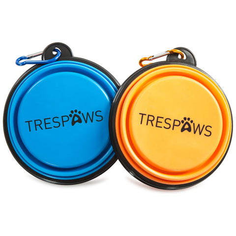 Trespass Travel Collapsible Dog Bowls Trespaws Sippy - Pack of 2