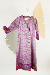 Ikat Saree Wrap Dress - S #01