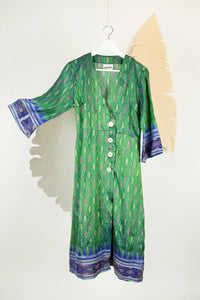 Ikat Saree Wrap Dress - M #02