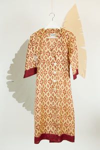 Ikat Saree Wrap Dress - S #03