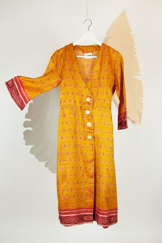 Ikat Saree Wrap Dress - M #04