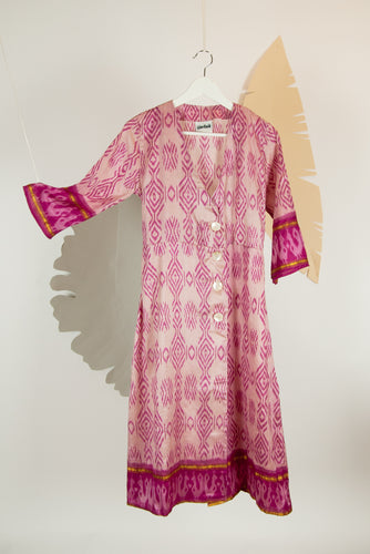 Ikat Saree Wrap Dress - S #10