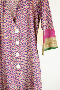 Ikat Saree Wrap Dress - S #12