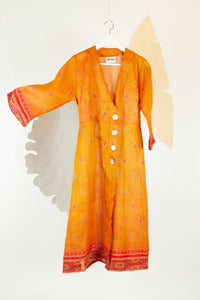 Ikat Saree Wrap Dress - M #20