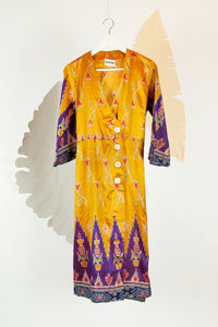 Ikat Saree Wrap Dress - M #23