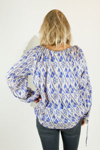 Ikat Saree Smock Top #04