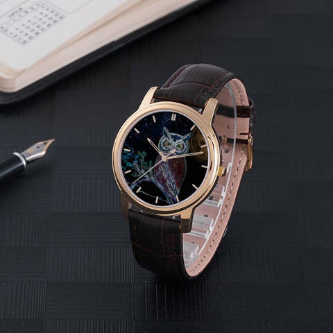 30M Waterproof Brown Leather Band Owl Watch - Birds' Splendor