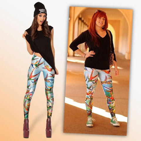 Birds of Paradise 3D Print Leggings - Birds' Splendor