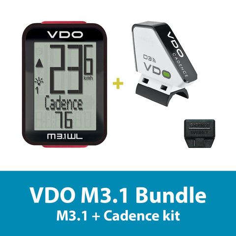 VDO Bicycle Computer M3.1 (wireless) bundle w/ cadence - ZEITBIKE
