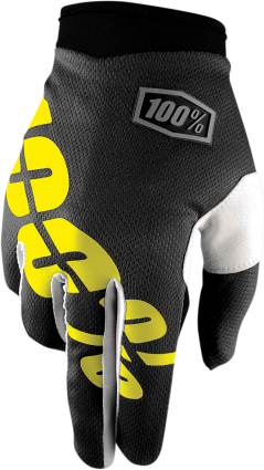 100% Youth Black/Yellow I-Track Gloves