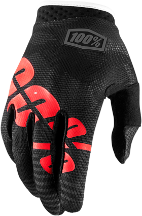 100% Black Camo I-Track Gloves