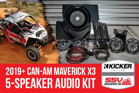 CAN-AM MAVERICK X3 2019 AND UP COMPLETE KICKER 5 SPEAKER PLUG-AND-PLAY SYSTEM