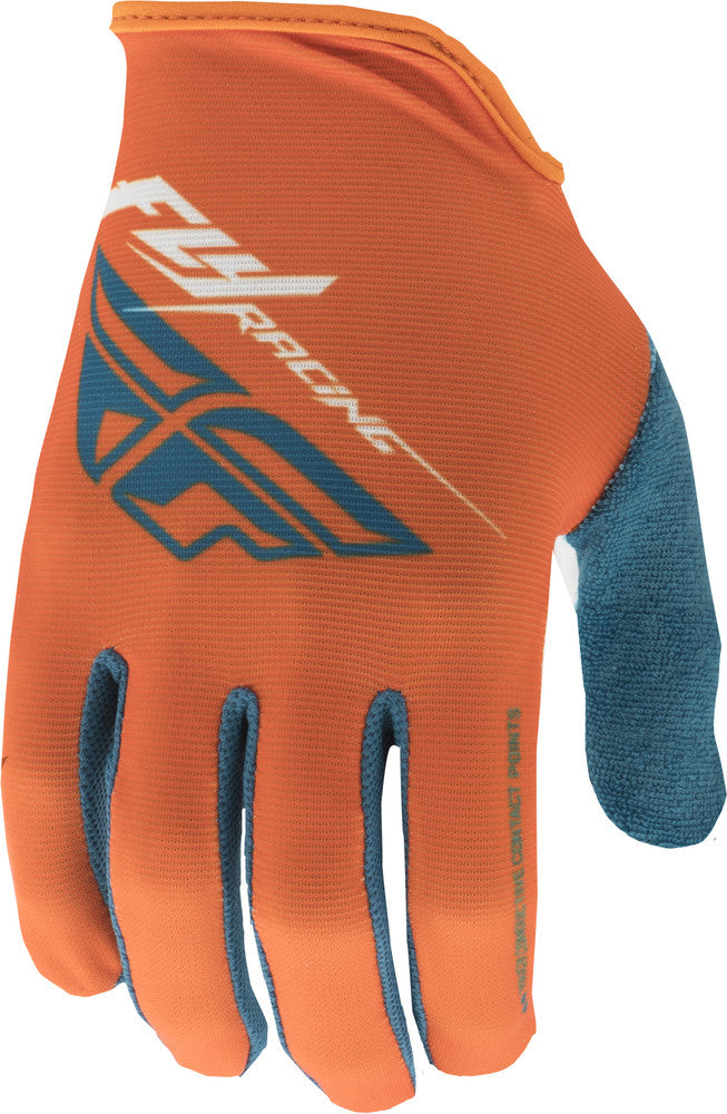 FLY RACING MEDIA GLOVES ORANGE/TEAL/WHITE