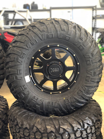 "KMC XS134 15"" Wheels and 32"" EFX Motovator Tire Package for 4x137"
