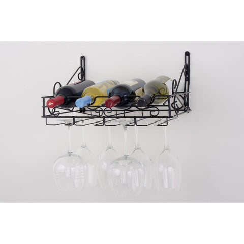 Concept Housewares 4 Bottle Wall Mounted Wine Rack - Premier Pot Racks