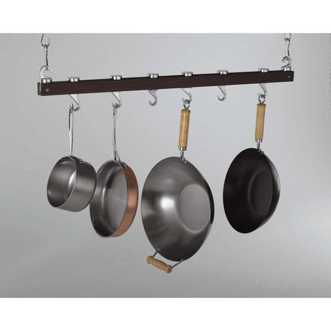 Concept Housewares Charcoal Espresso Wood Ceiling Pot Rack - Premier Pot Racks