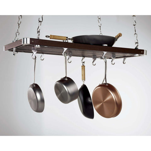 Concept Housewares Espresso Wood Rectangular Ceiling Pot Rack - Premier Pot Racks