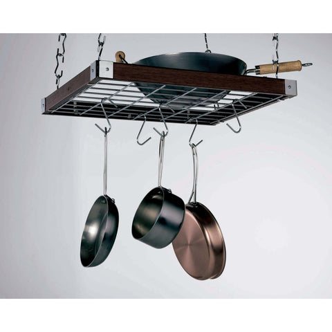 Concept Housewares Espresso Wood Square Ceiling Pot Rack - Premier Pot Racks