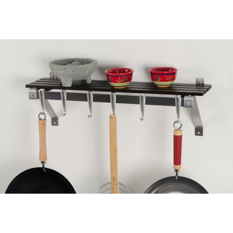 Concept Housewares Espresso Wood Wall Mounted Pot Rack - Premier Pot Racks