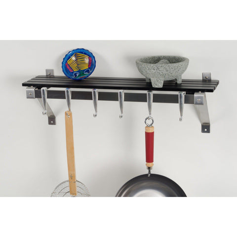 Concept Housewares Grey Wood Wall Mounted Pot Rack - Premier Pot Racks
