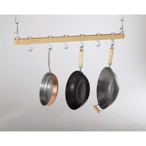 Concept Housewares Natural Wood Bar Pot Rack - Premier Pot Racks