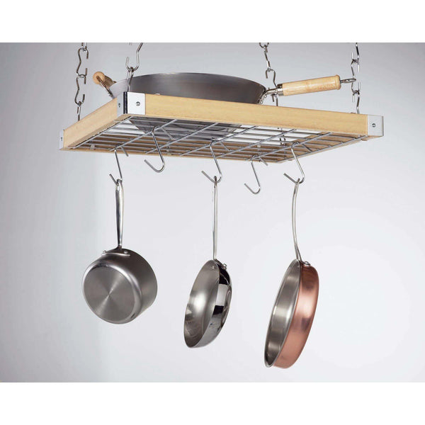Concept Housewares Natural Wood Rectangular Grid Pot Rack - Premier Pot Racks