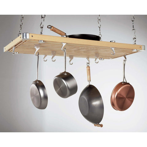Concept Housewares Natural Wood Rectangular Pot Rack - Premier Pot Racks