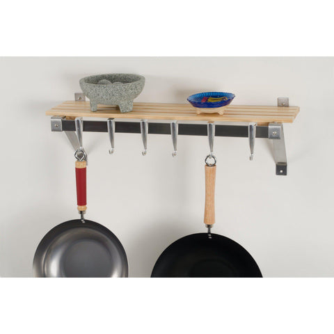 Concept Housewares Natural Wood Wall Mounted Pot Rack - Premier Pot Racks