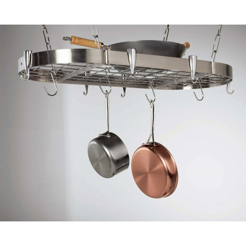Concept Housewares Stainless Steel Oval Pot Rack - Premier Pot Racks