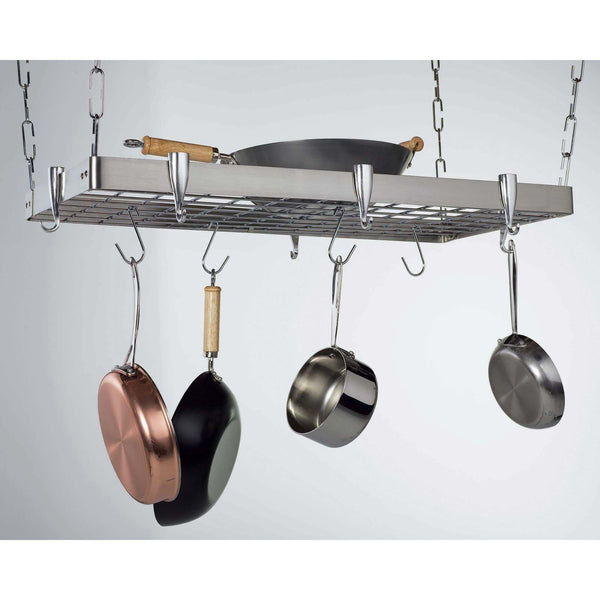 Concept Housewares Stainless Steel Rectangular Pot Rack - Premier Pot Racks