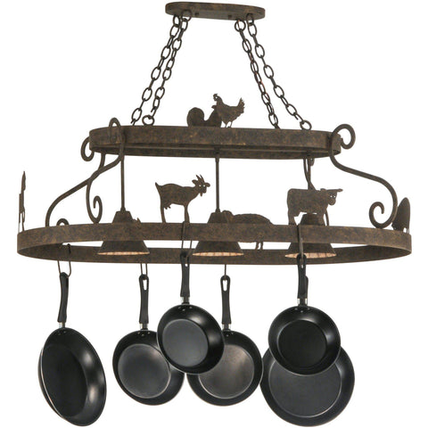 Meyda Lighting Barn Animals Downlight Pot Rack - Premier Pot Racks