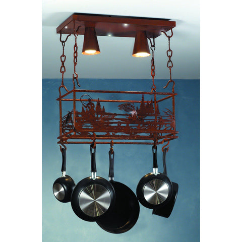 Meyda Lighting Fly Fishing Creek Pot Rack - Premier Pot Racks