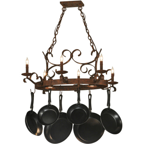 Meyda Lighting Handforged Oval 6 Light Pot Rack - Premier Pot Racks
