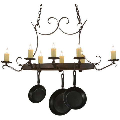 Meyda Lighting Handforged Oval 8 Light Pot Rack - Premier Pot Racks