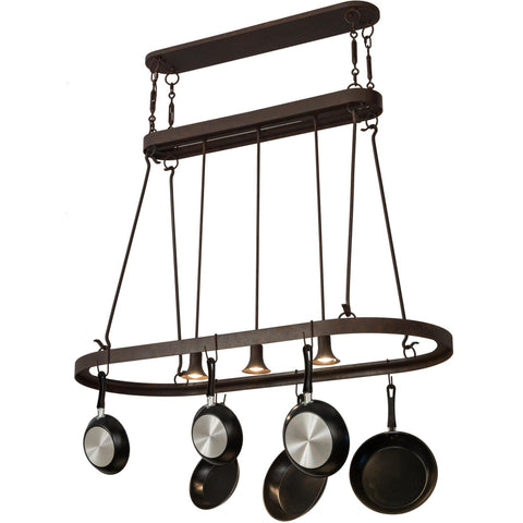 Meyda Lighting Harmony 3 Light Pot Rack - Premier Pot Racks