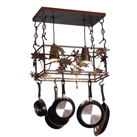 Meyda Lighting Oak Leaf & Acorn Pot Rack - Premier Pot Racks