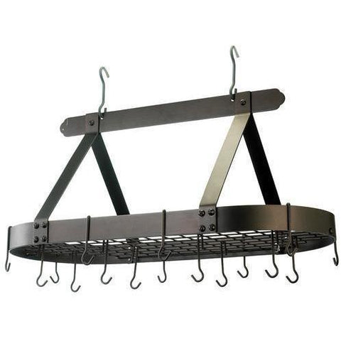 "Old Dutch 36"" Oval Hanging Pot Rack With 16 Hooks - Premier Pot Racks"