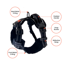 Load image into Gallery viewer, Easy Walk No-Pull Soft Adjustable Dog Harness - Black/Large