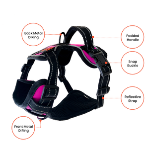 Medium/Pink Dog Harness – Easy Walk, No-Pull, Soft & Adjustable