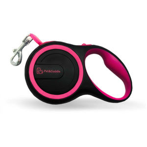 16 Foot Retractable Pet Leash - Pink/Black - Small/Medium