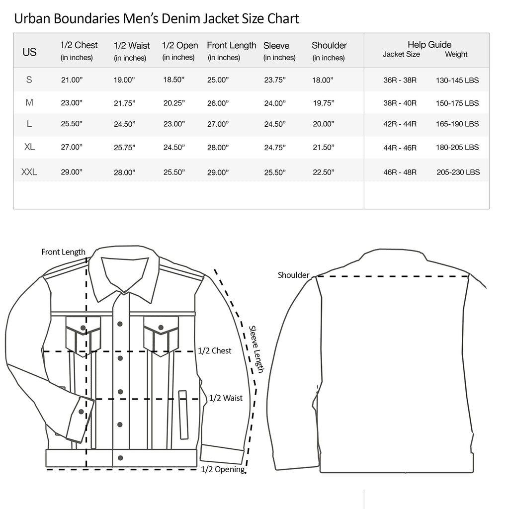 MEN'S SIZE CHARTS – Urban Boundaries
