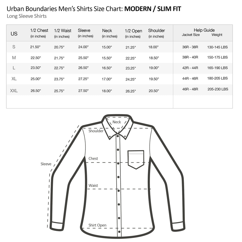 urban boundaries mens long sleeve shirt modern slim fit size chart specs