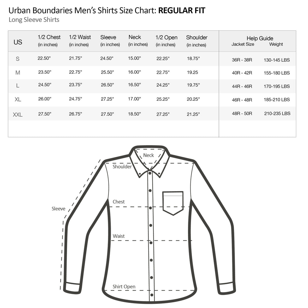 urban boundaries mens long sleeve shirt regular fit size chart specs